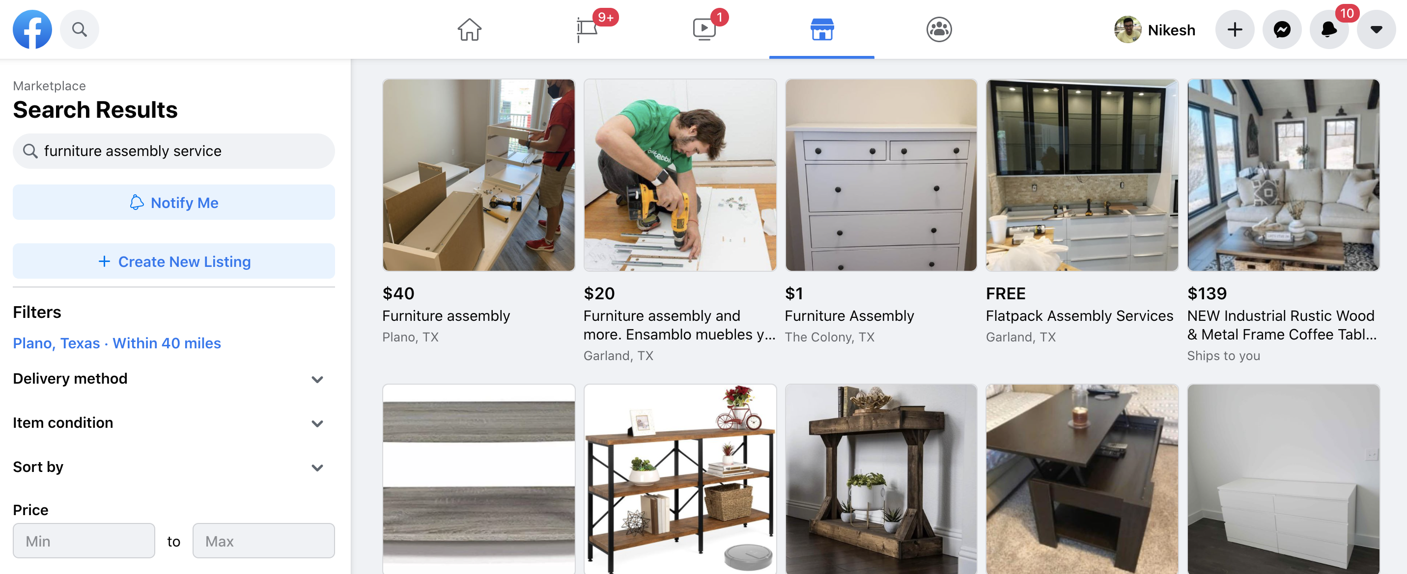 Facebook MarketPlace Furniture Assembly